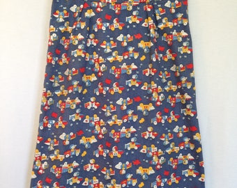 1970s handmade cartoon race car print denim skirt