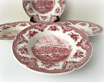 Red English Staffordshire Johnson Bros. Old Britain Castles Dishes Soup Bowls