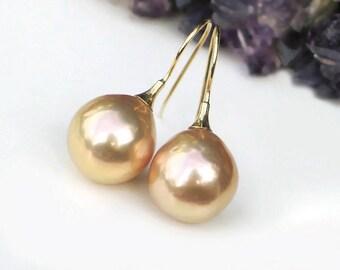 14k Baroque Pearl Earrings | Warm Golden Peach Champagne Edison Freshwater Pearls | 14Kt Gold Hoops | Rosebud Pearl Drops | Ready to Ship