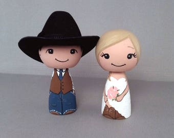 Cowboy Wedding Cake Toppers Doll with 1 cowboy hat