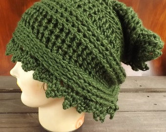 Crochet Scarf, Crochet Infinity Scarf, Crochet Cowl Scarf, Headscarf Wrap, Dark Sage Green Scarf, Lauren, Crochet Scarf