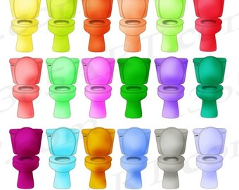 50% OFF Toilet Clipart, Toilet Clip Art, Restroom, Hygiene, Toilets, Scrapbooking, Planners Stickers, Digital Graphics, PNG JPEG, Commercial