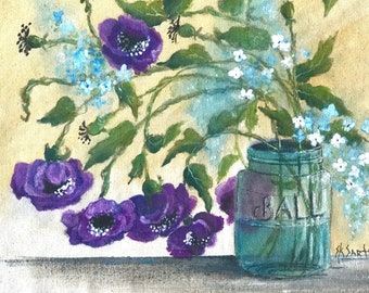 SK's Purple Poppies with Teal flowers