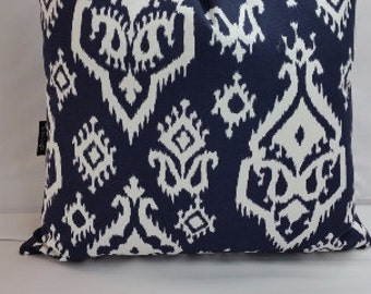 "Navy blue and white ikat toss pillow, 18"" square, Raji cotton"