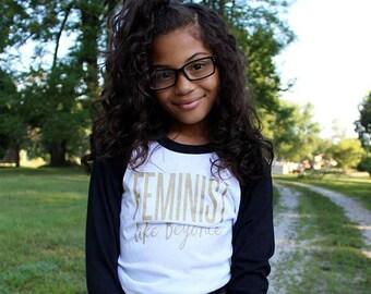 Feminist Like Beyonce Kids Raglan Baseball Tee Shirt Gold Glitter Sparkle Feminism Positive Message