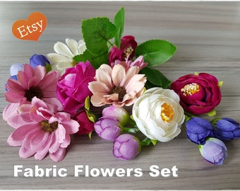 Large Set of Mix Fabric Flowers for cards and mixed media art, stunning scrapbooking embellishment