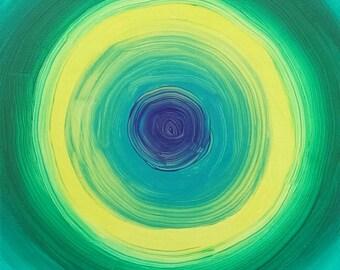 Vert, bleu, turquoise et jaune acrylique peinture abstraite sur toile «série 7 XCIII «Design d'intérieur, Art mural, décoration d'intérieur