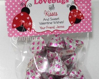 Printable Valentine Lovebugs and Kisses Treat Bag Topper-Valentine Lovebugs & Kisses Treat Topper-Ladybug Valentine-Bugs and Kisses