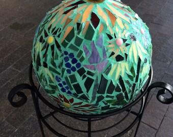 Mosaic Gazing Ball, Garden Ball, Garden Art, Gazing Ball, Garden Focal Point, Upcycled Garden Art,