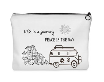 VW Bus Life Is A Journey Toiletry Bag, Coin Bag, Pencil Bag, MakeUp Bag, VW Bus Toiletry Bag