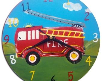 Fire Engine Clock / Fire Truck / Children's Wooden Wall Clock / Boys Nursery Decor / Hand-painted
