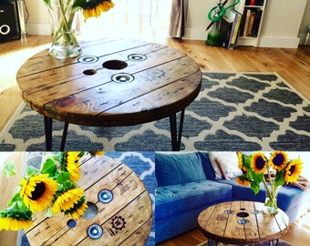 Bespoke Handmade Wooden cable drum Coffee Table industrial shabby chic rustic Personalised
