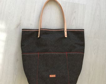 Denim tote bag with leather straps
