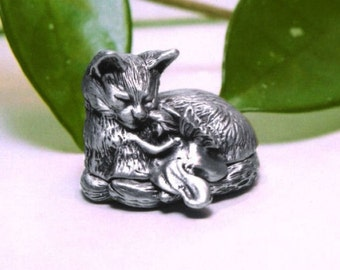"""Tooth Fairy Box - Pewter Cat """"On A Whim"""""""