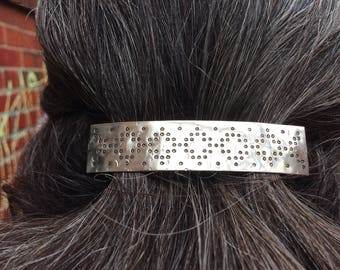 Fair Isle design barrette - sterling silver