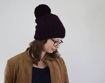 Slouchy Beanie // Big Pom Pom Hat // Hats for Women // Toddler Hats for Girls // Hats for Kids // Purple Hat