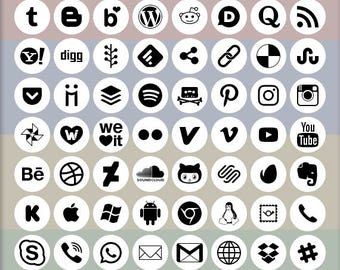 Social Media Icons, 72 logo designs, black on white, circle shape, vector & bitmap images