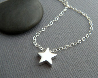 """tiny star necklace. sterling silver bead small celestial dainty jewelry simple summer choker charm delicate everyday pendant. gift 1/4"""""""