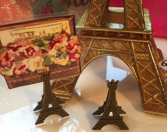 Rustic Eiffel Tower Fasteners/Paperclips- Vintage Brass Finish