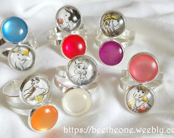 "Adjustable Duo Ring with Cabochons ""Dream Princes"" Disney Princess or Frozen - customizable - 6 designs"