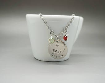 Necklace engraved 2 kids names and birthstone - birthstone necklace - mum mom mommy gift