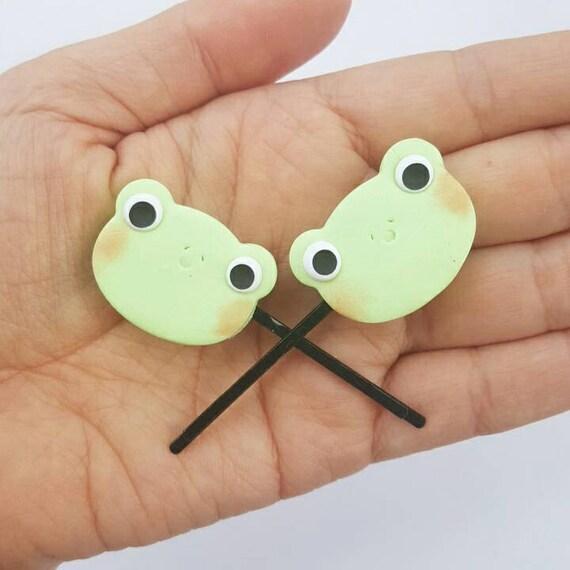 Kawaii Frog Hair Clip Set,  Accessory, Polymer Clay Charm, Polymer Clay, Sweet Lolita, Fairy Kei, Kawaii, Chibi, Clay Charm