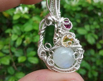 Irie : Unique Sterling Silver Wire Wrap Pendant featuring Green Tourmaline Rainbow Moonstone Citrine and Garnet / heady wire wrap pendant