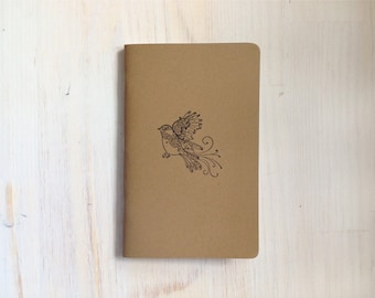 Notebook: Bird, Inspiration Book, Journal, Brown, Kraft, Stamped, Kids, Journal, For Him, For Her, Jotter, Unique, Gift, Blank, Unlined