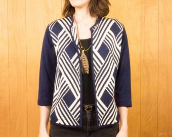 60s Cardigan Sweater Cropped Bold Geometric Print Navy Pattern 3/4 Sleeves ~ Medium Large