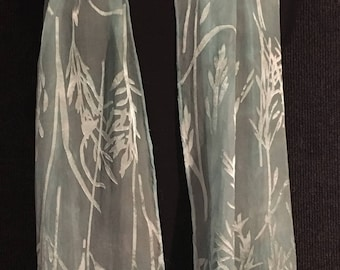 Hand Dyed Silk and Rayon Scarf in Bamboo Burn Out Pattern in Soft Sea Foam Green