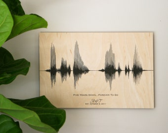 5th Anniversary Gift, 5 Year Anniversary Gift, Wood Anniversary for Her, for Him, for Women, Custom Sound Wave Art, Voice Art, Voiceprint