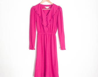 Vintage Dress - Fuchsia Dress - Long Sleeve Dress Women - Frilly Dress - JC Penney Dress - Magenta Dress - 80s Dress - 1980s Clothing - Pink