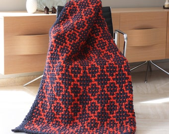 Throw knit blanket - Cable blanket - Afghan to knit - Chunky blanket - Mosaic blanket  - Throw blanket