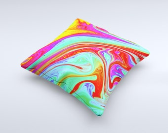 The Neon Color Fusion V7 ink-Fuzed Decorative Throw Pillow