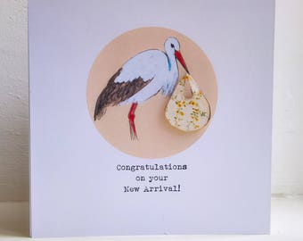 Stork 3D New Baby Card