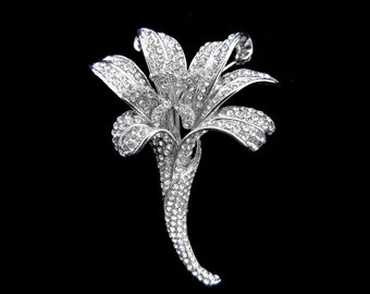 Crystal Large Flower Lily Brooch Pin Silver Tone Clear Wedding Bridal Bride Accessory Jewelry