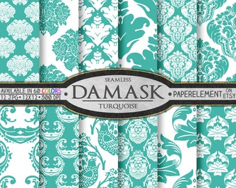 Turquoise Blue Damask Digital Scrapbook Paper - Blue & White Printable Backgrounds for Weddings and Bridal Showers