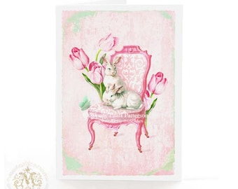 Rabbit card, Easter bunny on a Regency chair with tulips, blank inside