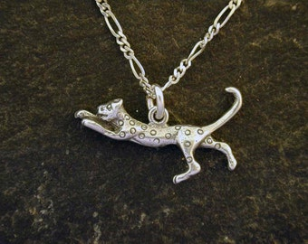 Sterling Silver Leopard Pendant on a Sterling Silver Chain