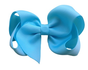 4 inch ocean blue hair bow - light blue bow, boutique bows, girls hair bows, girls bows, blue hair bows, 4 inch bows, toddler bows, hair bow