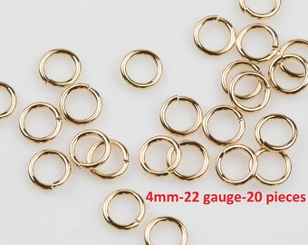 4mm- 22 Gauge- Gold Filled Jump Rings- USA product- 20 pieces per order