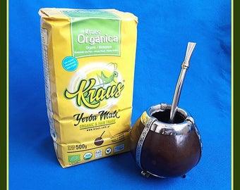 Alpaca Silver Mate Gourd & Bombilla + 1lb Organic Unsmoked Yerba Mate Bag