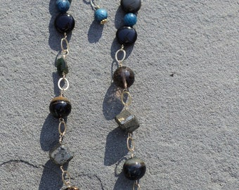 Gold Filled Rainbow Obsidian, Pyrite, Apatite and Blue Tiger Eye Adjustable Necklace and Earrings. One of a Kind!