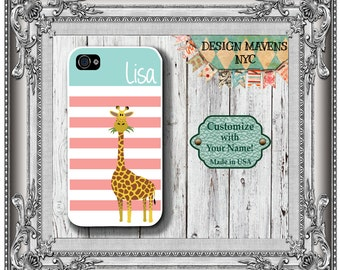 Preppy Giraffe Stripe Monogram iPhone Case, Personalized iPhone Case, iPhone 5, 5s,5c, iPhone 6, 6s, 6 Plus, SE, iPhone 7, 7 Plus