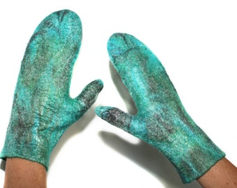 SALE Felted Mittens Multicolor Felt Arm Warmers OOAK Felt Gift Fashion Winter Accessory Wool Silk