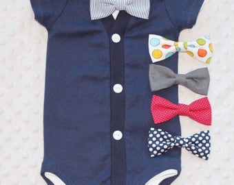 Baby Boy Cardigan and Bow Tie Set, Navy Blue, Baby Suit, Baby Tuxedo, Baby Boy Outfit, Baby Boy Clothes, Trendy Baby Boy Outfit
