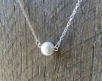 White Floating Pearl Necklace Bridal Necklace Simple Necklace on Silver or Gold Chain
