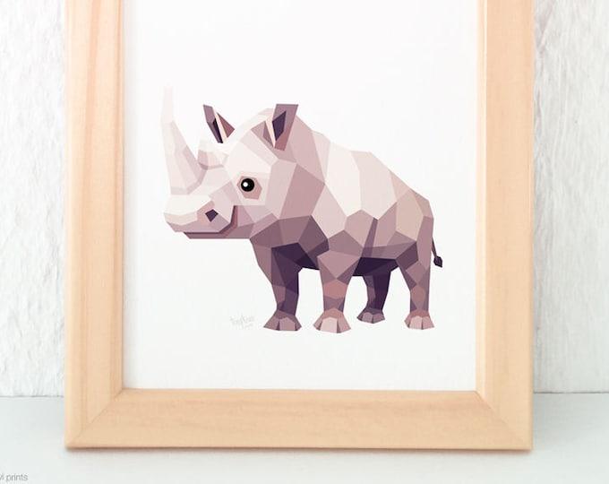 Rhino nursery print, Geometric animal art, Savannah animals, African animals, Rhino illustrations, Children's animal art, Nursery baby art