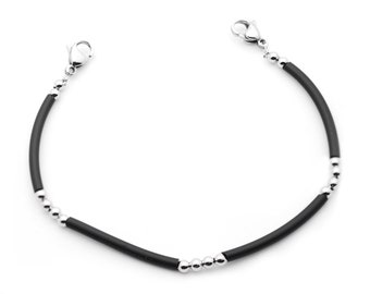 Black Silicone & Bead Medical ID Interchangeable Bracelet - 3 Sizes!