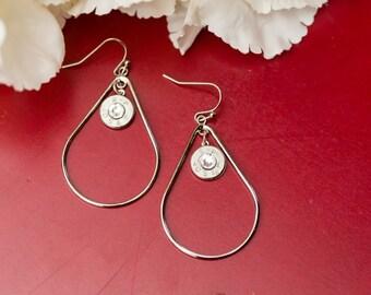 Bullet Casing Jewelry - Large Wire Teardrop Dangle Bullet Earrings (40) (Nickel Free)